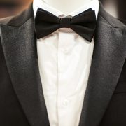 Wedding black tuxedo and tie on the unrecognizable person